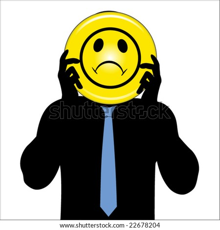 clip art sad faces. stock vector : male with sad