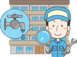 Male worker dealing with water leak trouble in condominium