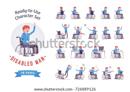 Male young wheelchair user ready-to-use character set. Various poses, emotions, special life, health problems. Full length, front, rear view isolated, white background. Disability and social policy
