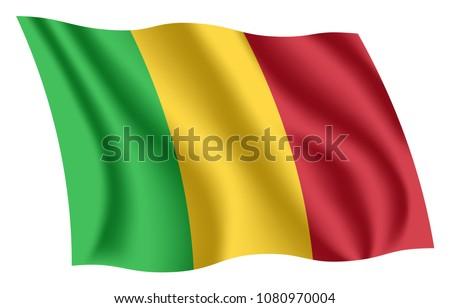 Mali flag. Isolated national flag of Mali. Waving flag of the Republic of Mali. Fluttering textile malian flag.