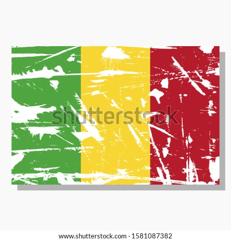 Mali flag with scratches and shadow in vector