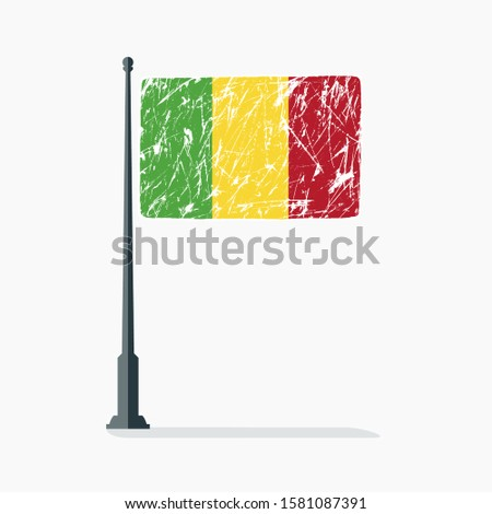 Mali flag with scratches on flagpole with shadow in vector