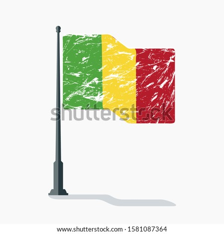 Mali flag with scratches waving on flagpole with shadow in vector