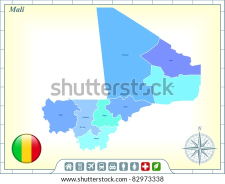 Mali Map with Flag Buttons and Assistance & Activates Icons Original Illustration