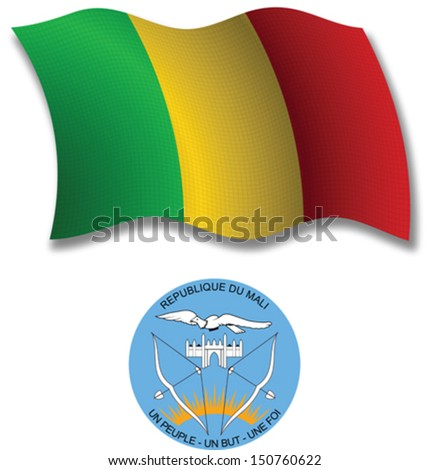 mali shadowed textured wavy flag and coat of arms against white background, vector art illustration, image contains transparency transparency