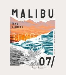 Malibu slogan on natural sunset and ocean beach illustration