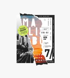 Malibu slogan on sunset background paper ripped off illustration