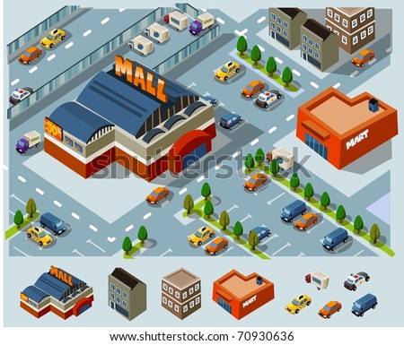 Mall and Grocery center. Set of very detailed isometric vector