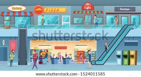 Mall interior. Retailers hypermarket commercial shopping big hall windows vector cartoon illustration