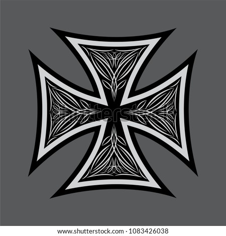 maltese cross with pattern