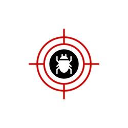 Malware bug in target vector icon. Network Vulnerability - Virus