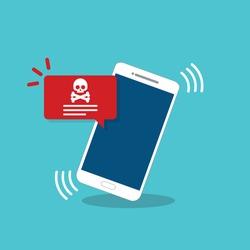 Malware notification on mobile phone. Smartphone with alert, spam data on cellphone fraud error message, scam, virus. Flat vector illustration.