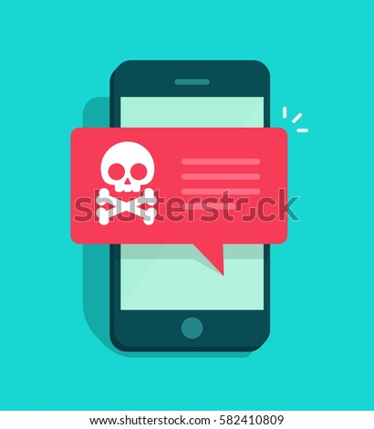 Malware notification on smartphone vector, flat style mobile phone with skull bones bubble speech red alert, concept of spam data, fraud internet error message, insecure connection, online scam, virus