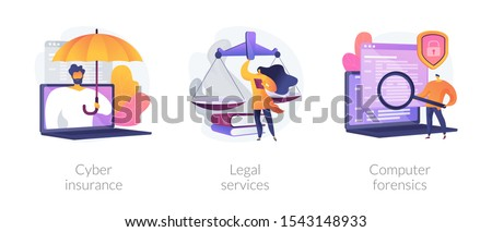 Malware protection, lawyer consultation, criminalistic examination icons set. Cyber insurance, legal services, computer forensics metaphors. Vector isolated concept metaphor illustrations