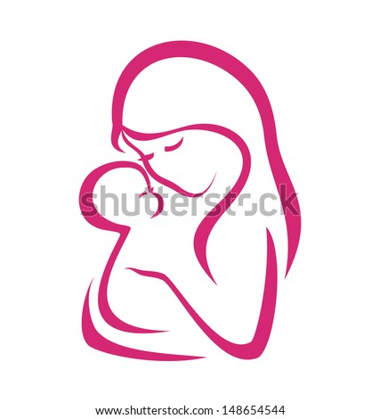 mama and baby  vector symbol in