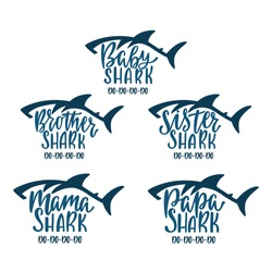 Mama, papa, baby, brother, sister sharks. Hand drawn typography phrases with shark silhouettes. Family collection. Birthday t-shirt designs. Vector illustration isolated on white background.