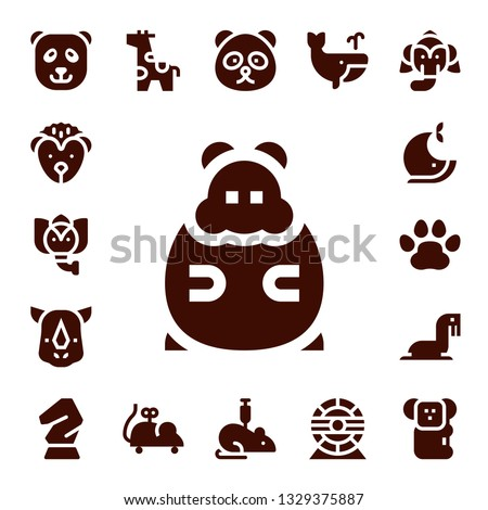 mammal icon set. 17 filled mammal icons.  Collection Of - Panda bear, Hedgehog, Elephant, Hamster, Rhino, Whale, Pawprints, Sea lion, Horse, Giraffe, Mouse toy, Rat, Hamster wheel