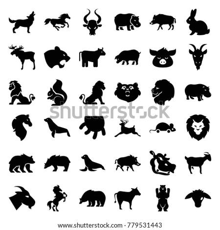 mammal icons. set of 36...