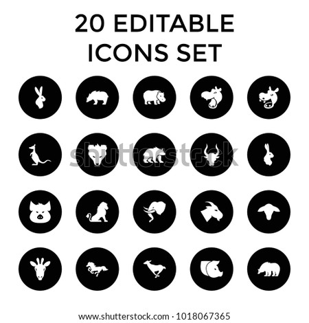 mammal icons. set of 20...