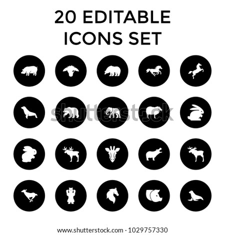 mammal icons. set of 20...