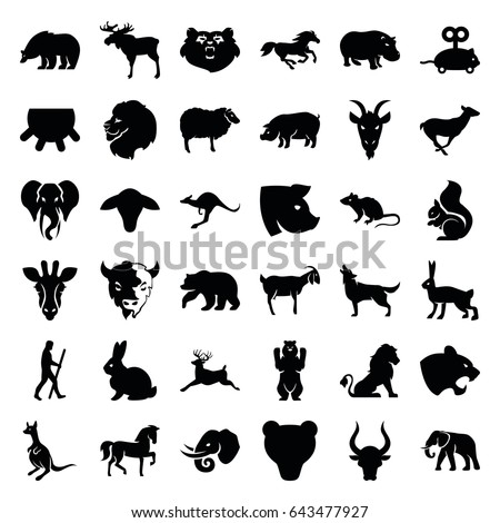Shutterstock Mammal icons set. set of 36 mammal filled icons such as udder, goat, bear, giraffe, lion, moose, rabbit, horse, panther, mouse, elephant, sheep, antelope, kangaroo, pig