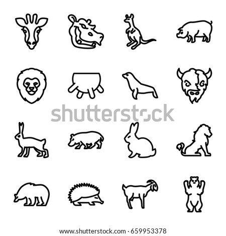 Mammal icons set. set of 16 mammal outline icons such as giraffe, lion, rabbit, bear, hedgehog, cangaroo, pig, goat, hippopotamus, seal