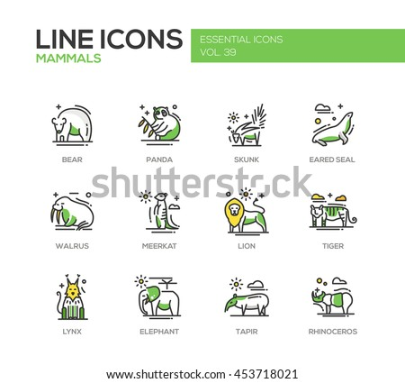 Mammals - set of modern vector line design icons and pictograms of animals. Bear, panda, skunk, eared seal, walrus, meerkat, lion, tiger, lynx, elephant tapir rhinoceros