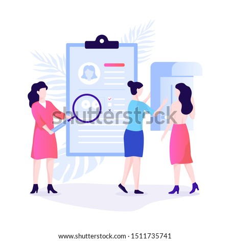 Mammography concept. Breast examination in the clinic, medical diagnosis. Vector illustration in flat style isolated