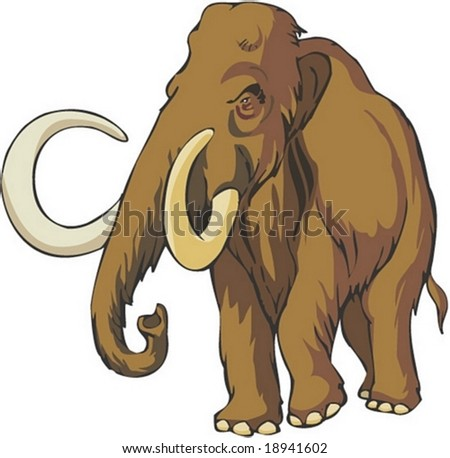 Mammoth Character on white background