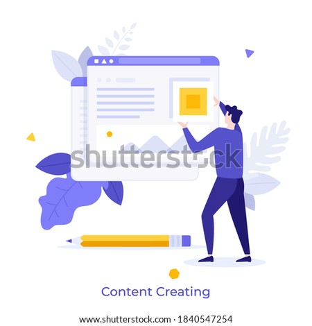 Man adding information on website. Concept of digital content creation and management, internet publication, publishing data online. Modern flat colorful vector illustration for banner, poster. Сток-фото ©