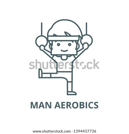 Man aerobics,workout,gymnastics rings vector line icon, linear concept, outline sign, symbol
