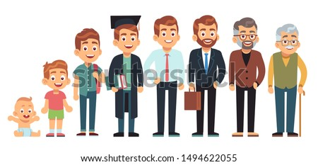 Man age. Male of different life ages, people generation cycle, growing up character. Child, student and adult and old man vector aging full length from men baby to grandfather set