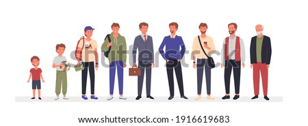 Man ages, different generation concept vector illustration. Cartoon male characters in aging stage process standing in line, people growth from childhood to adulthood and old age isolated on white
