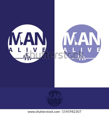 man alive logo with the shape of a man's head between the MAN logo name and the frequency of the heartbeat has its own uniqueness with masculine colors, making this design modern, unique, elegant, sim