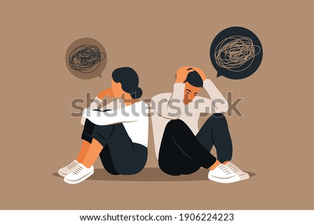 Man and a woman in a quarrel. Conflicts between husband and wife. Two characters sitting back to back, disagreement, relationship troubles. Concept of divorce, misunderstanding in family. Vector. Foto d'archivio ©