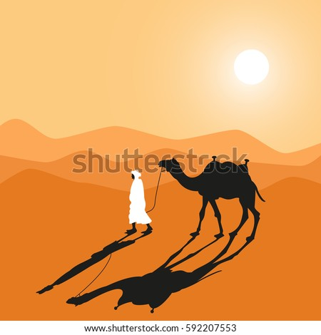 Man and camel do across desert. Cartoon hand made vector eps10 illustration.