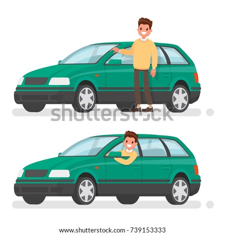 Man and car. A happy buyer of a new vehicle. Vector illustration in a flat style #739153333