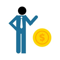 Man and coin. banking loan, money loans - piggy icon - finance and economy symbol
