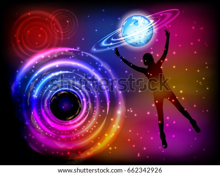 Man and cosme. The concept of communication with the higher mind. Fate. Silhouette of a girl falling into outer space. Vector illustration for your design.