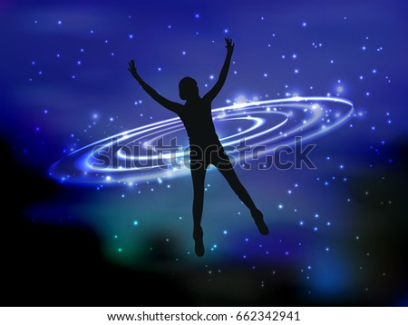 Man and cosme. The concept of communication with the higher mind. Fate. Silhouette of a girl falling into outer space. Space strings. Waves of light. Vector illustration for your design.
