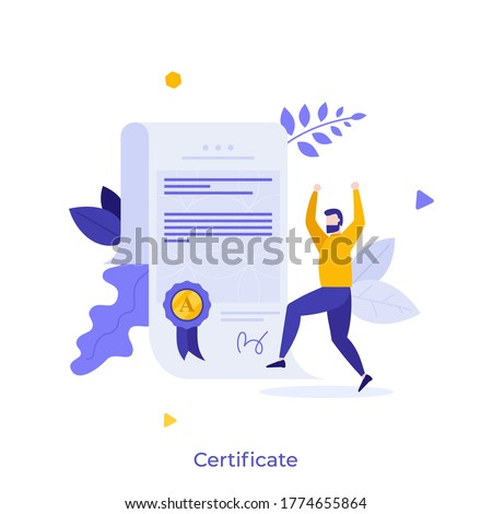 Man and document with wafer seal and ribbon. Diploma or certificate of honor, merit, appreciation, excellence, award, recognition, achievement or graduation. Modern flat colorful vector illustration.
