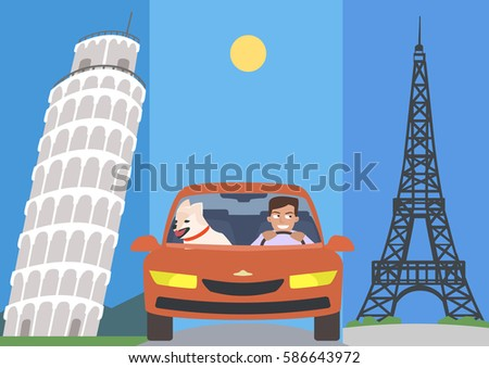 man and dog in a car against