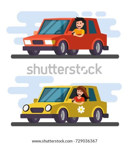 man and girl driving car