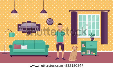 man and his dog on background