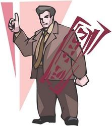 Man and Job Character : vector illustration
