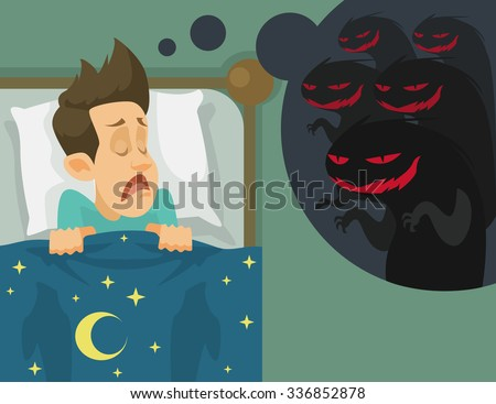 man and nightmare vector flat