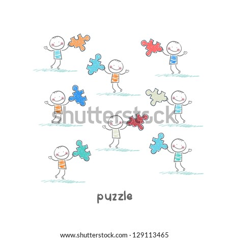 Man and  puzzle. Illustration. - stock vector