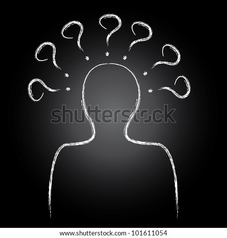 Man and question marks,Vector