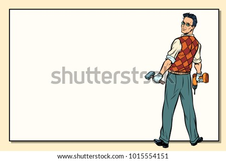 man and repair, drill hammer, copy space background. Pop art retro vector illustration.