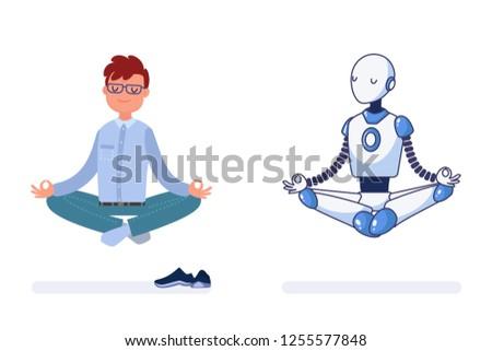man and robot do yoga together